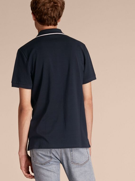 Tipped Collar Cotton Piqué Polo Shirt in Navy - Men | Burberry - cell image 2