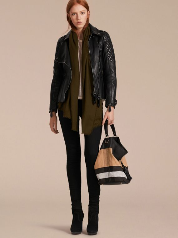 The Medium Ashby in Canvas Check and Leather in Black/black - Women | Burberry - cell image 2