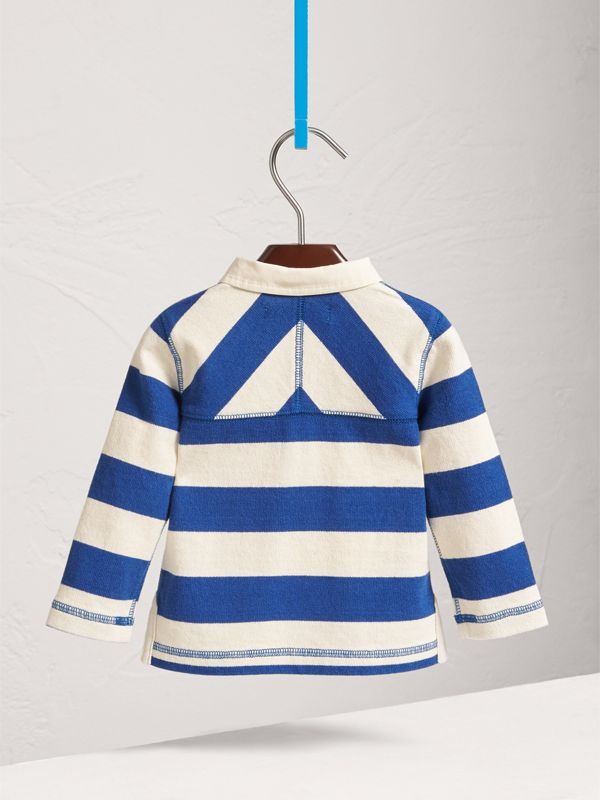 London Icons Motif Cotton Rugby Shirt in Cobalt Blue/natural White | Burberry - cell image 3