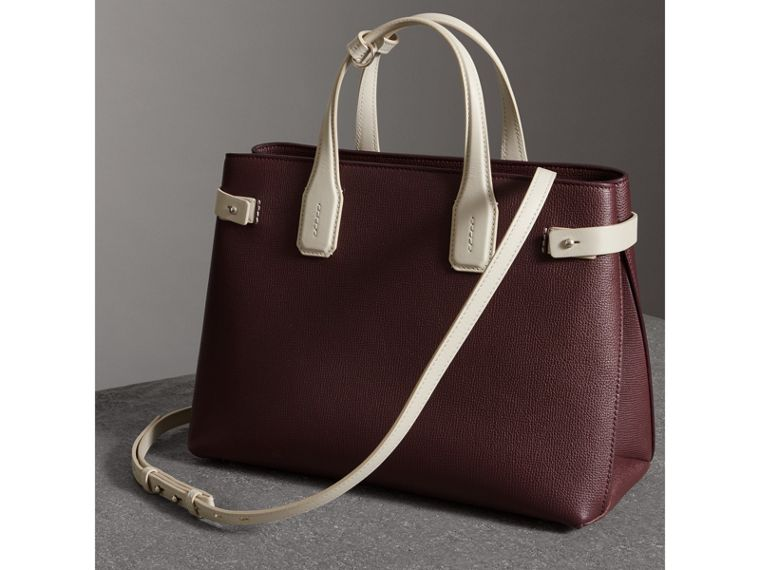 The Medium Banner in Two-tone Leather in Mahogany Red/limestone - Women | Burberry - cell image 4