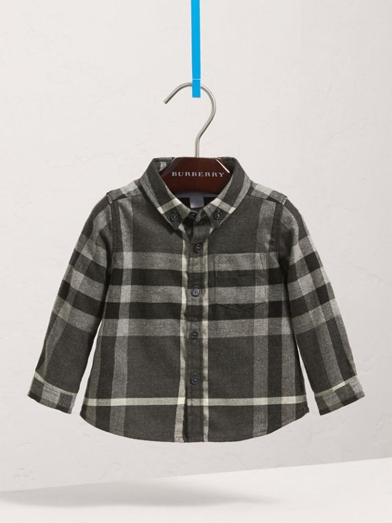 Button-down Collar Check Cotton Shirt in Dark Grey Melange | Burberry - cell image 2