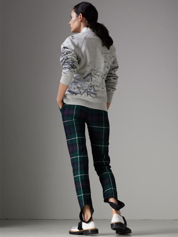 Felpa in jersey di misto cotone con disegni stampati (Grigio Pallido Mélange) - Donna | Burberry - cell image 2