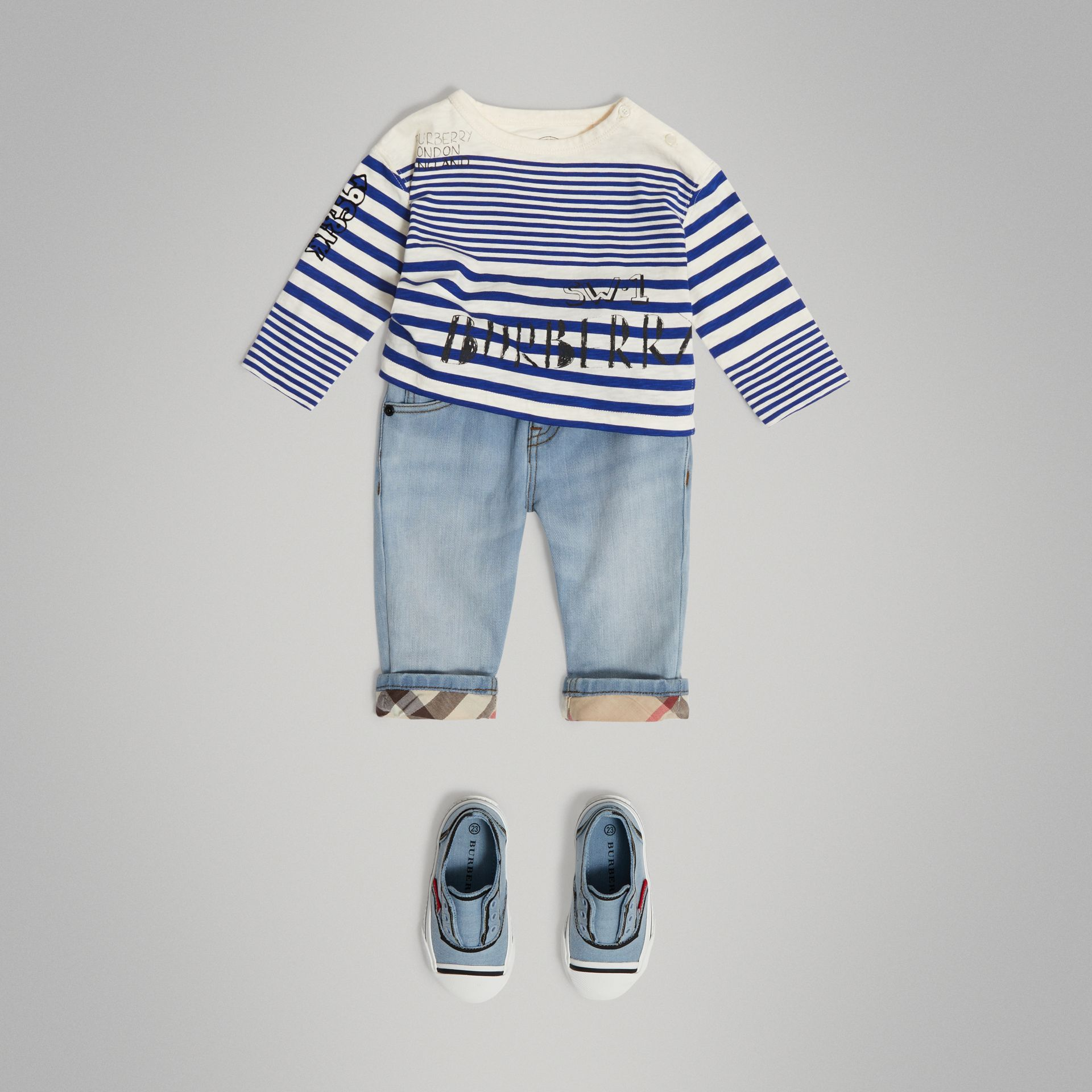 Relaxed Fit Stretch Jeans in Light Blue - Children | Burberry - gallery image 2