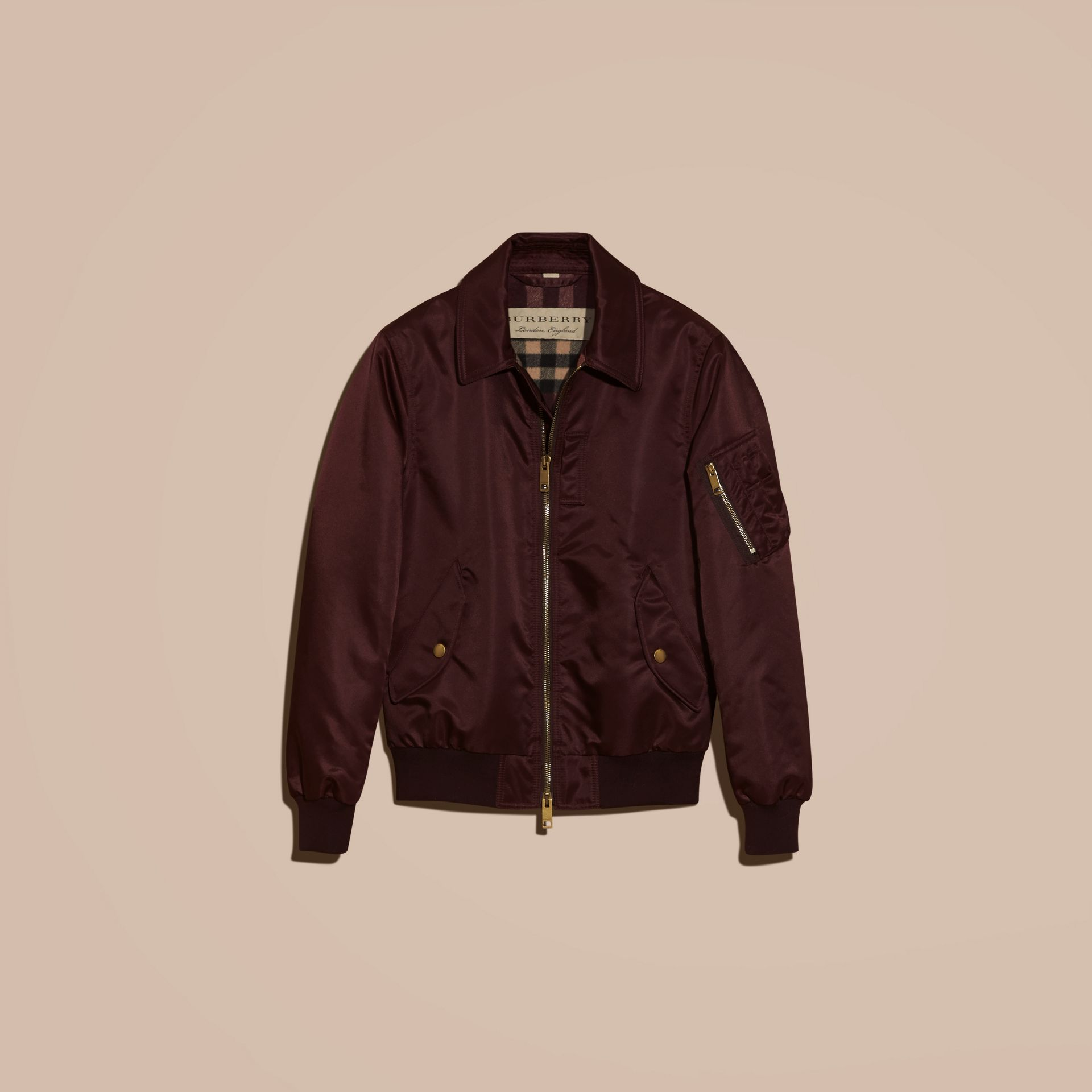 Satin Bomber Jacket with Check Undercollar in Dark Elderberry - gallery image 4