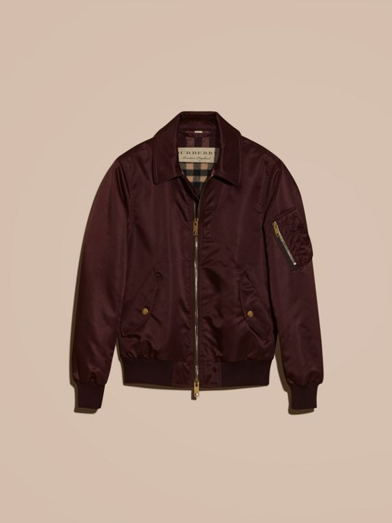 Satin Bomber Jacket with Check Undercollar in Dark Elderberry - cell image 3