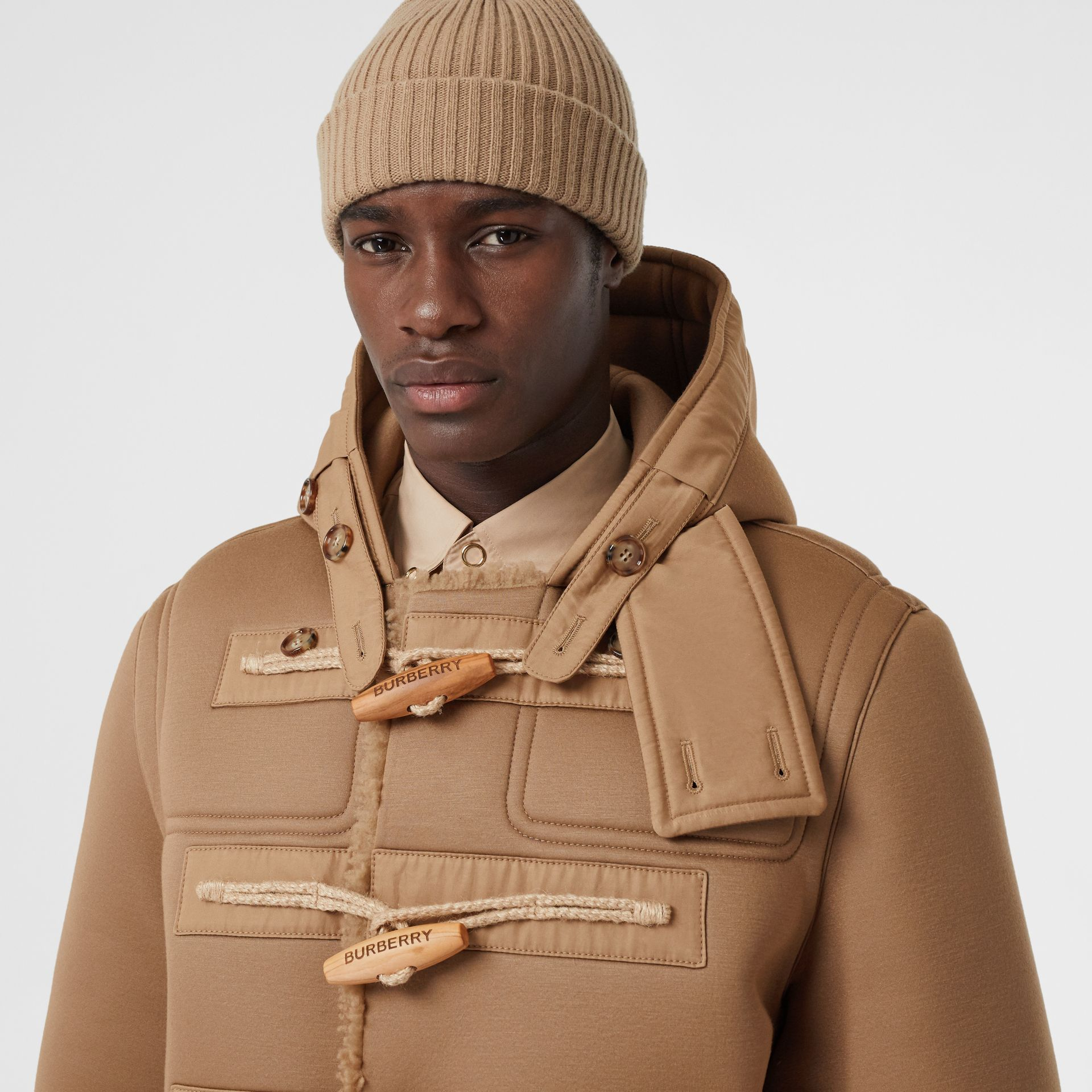 Reversible Neoprene and Shearling Hooded Duffle Coat in Warm Walnut - Men | Burberry - gallery image 1
