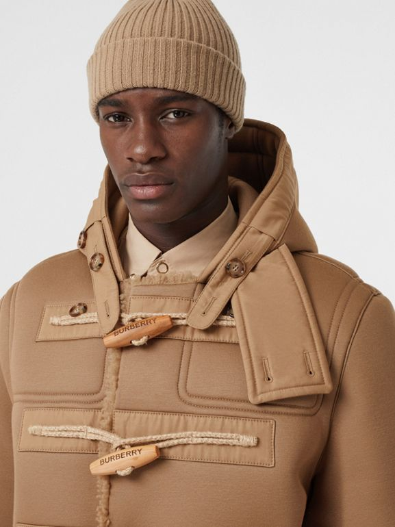 Reversible Neoprene and Shearling Hooded Duffle Coat in Warm Walnut - Men | Burberry - cell image 1