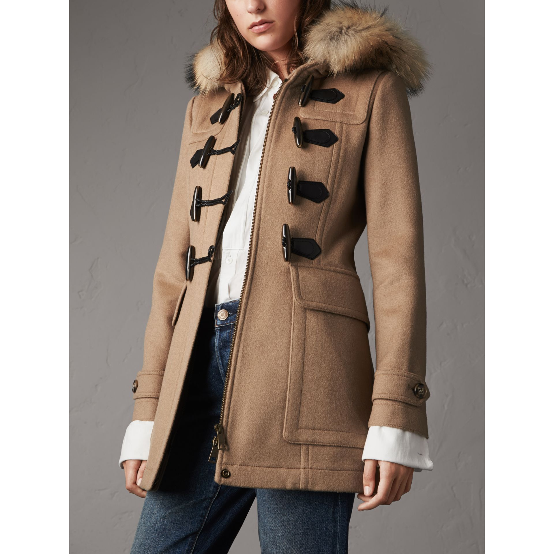 Detachable Fur Trim Wool Duffle Coat in Camel - gallery image 6