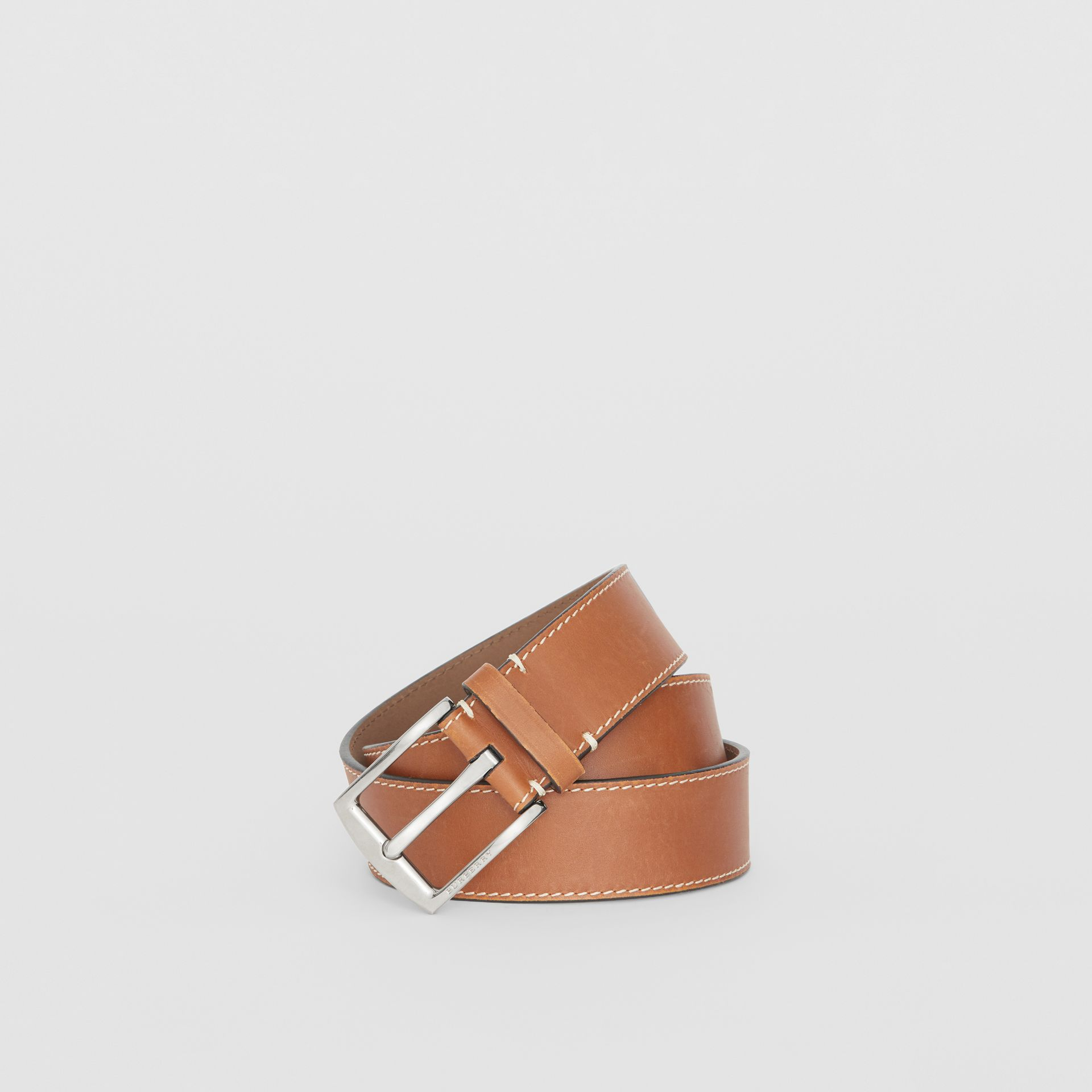 Topstitched Leather Belt in Tan - Men | Burberry United States - gallery image 0