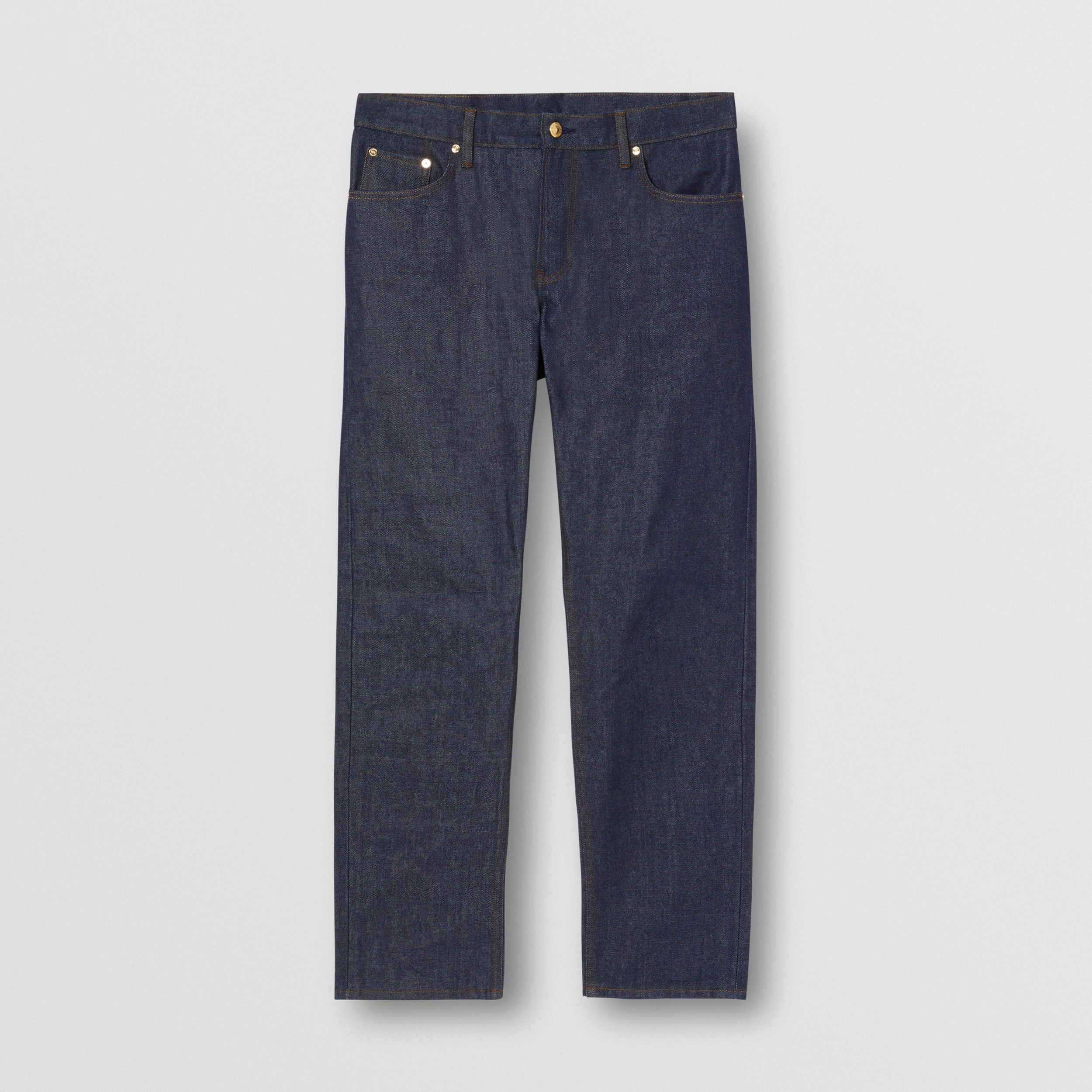 Straight Fit Raw Denim Jeans in Indigo - Men | Burberry - 4