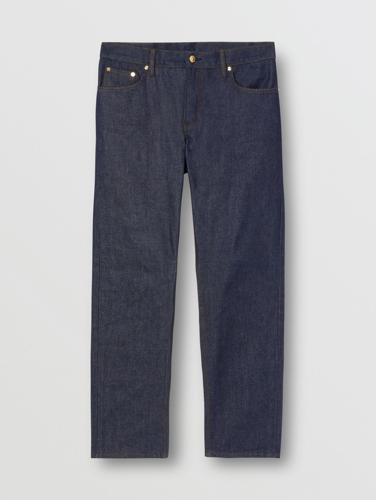 Straight Fit Raw Denim Jeans in Indigo