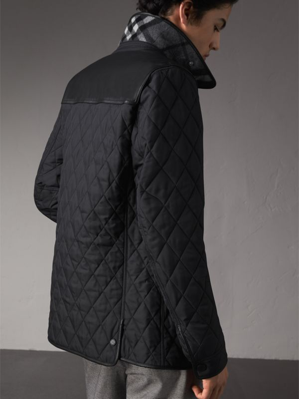 Lambskin Yoke Diamond Quilted Jacket in Black - Men | Burberry United Kingdom - cell image 2