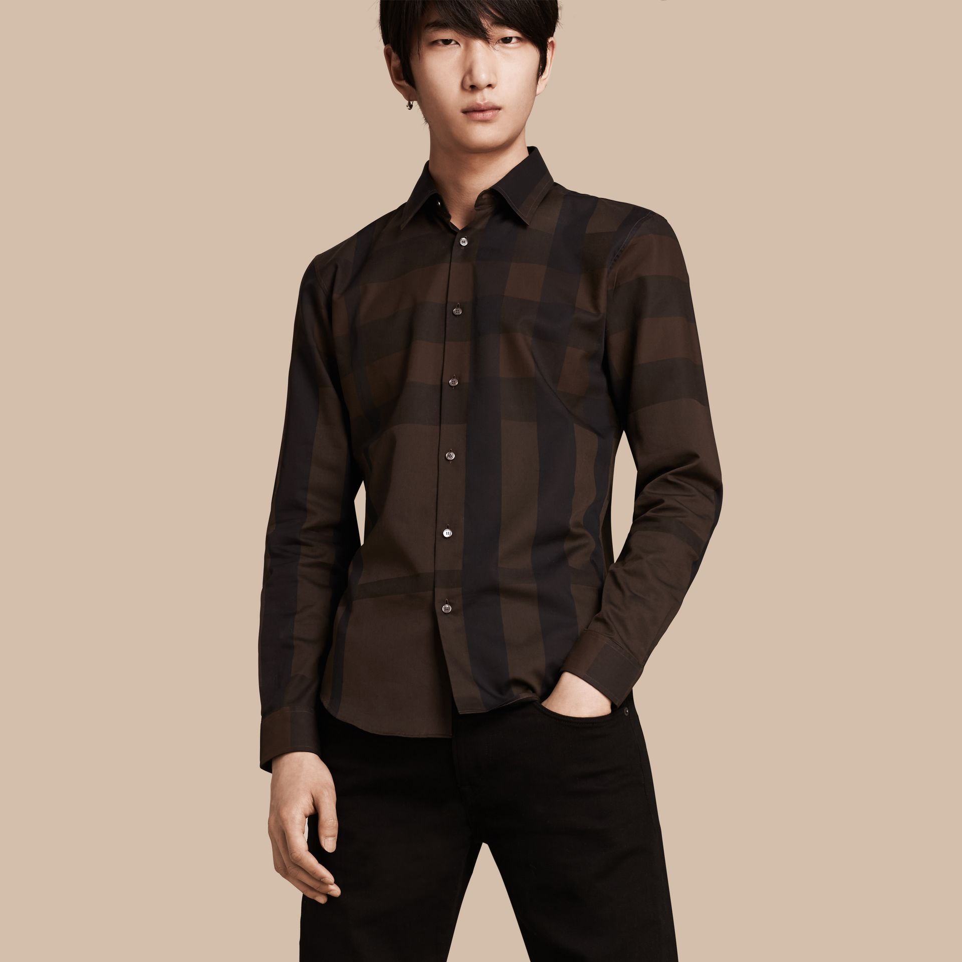 Chocolate check Check Cotton Shirt Chocolate - gallery image 1