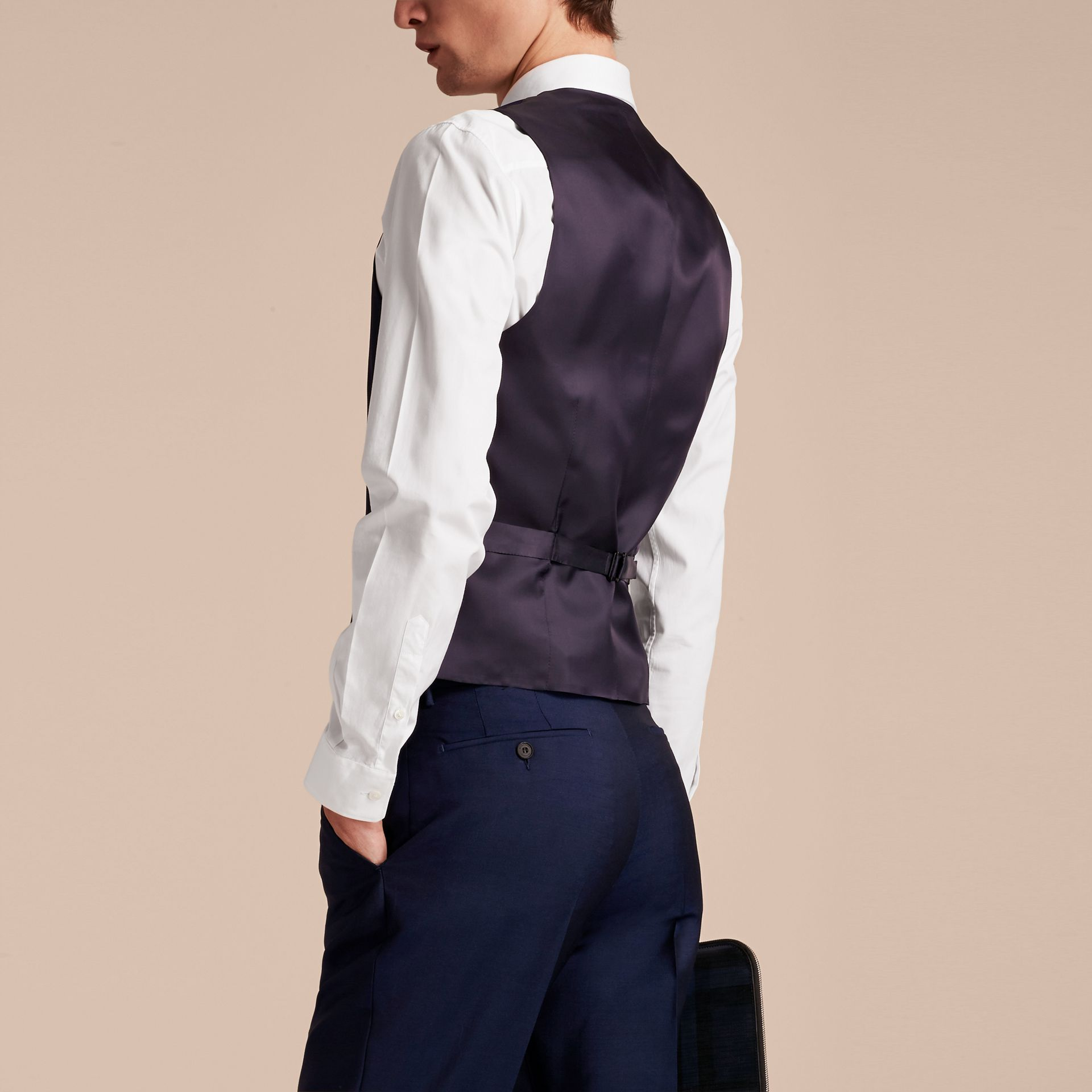 Slim Fit Wool Mohair Waistcoat in Navy - Men | Burberry United States - gallery image 2