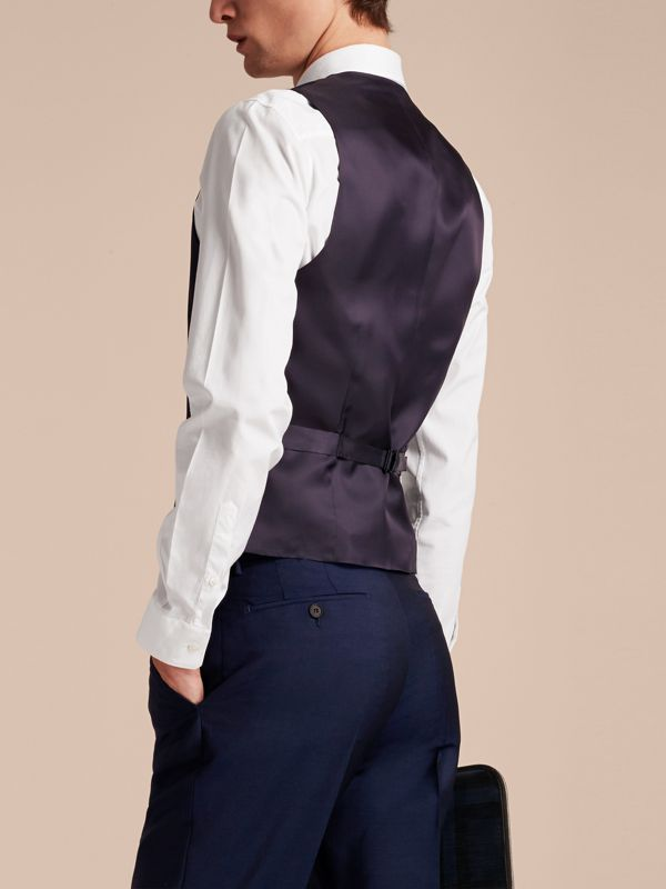Slim Fit Wool Mohair Waistcoat in Navy - Men | Burberry - cell image 2