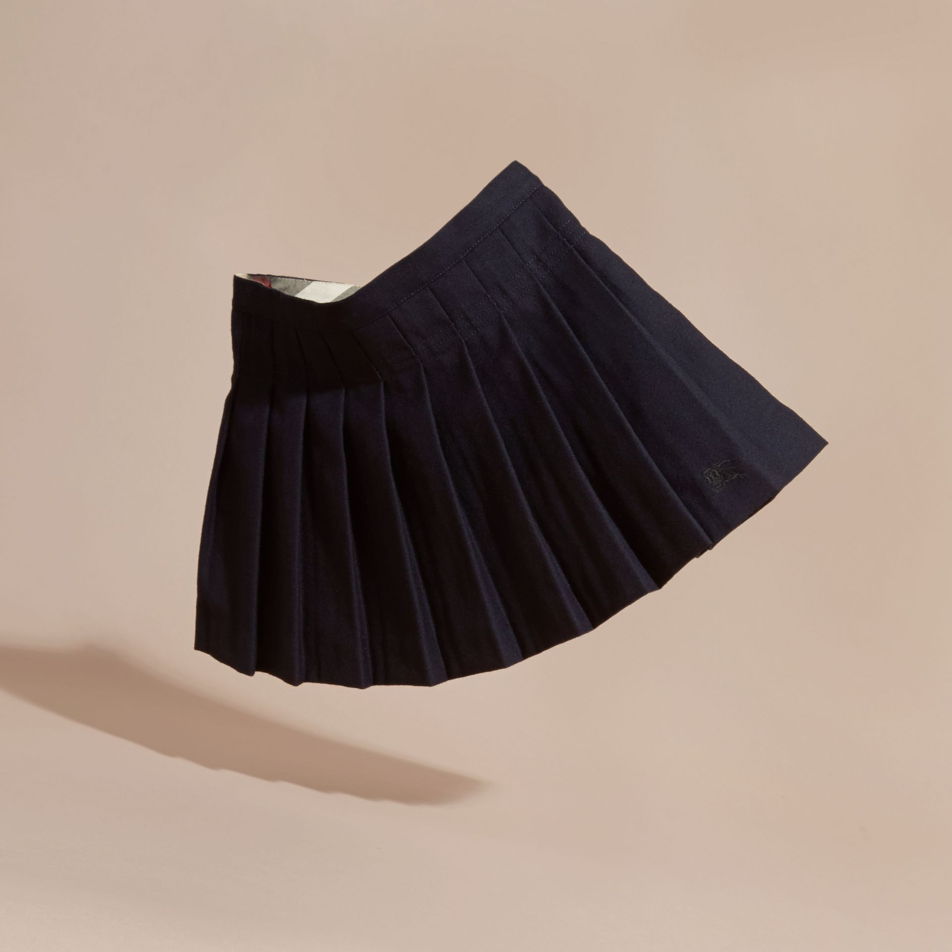 Navy Pleated Wool Skirt - gallery image 3