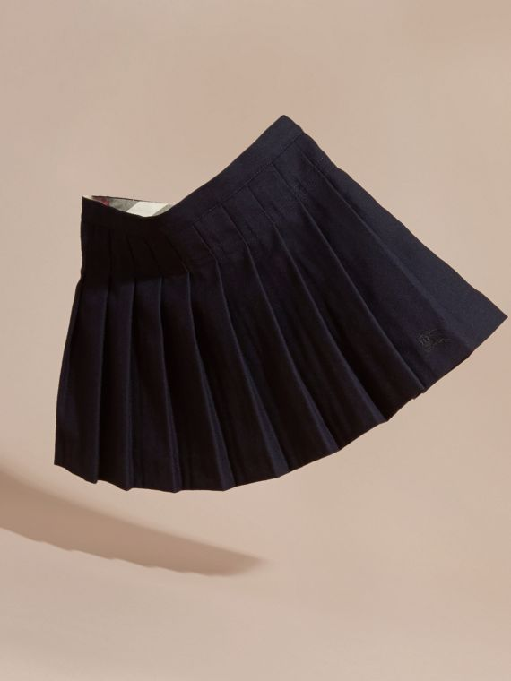 Navy Pleated Wool Skirt - cell image 2