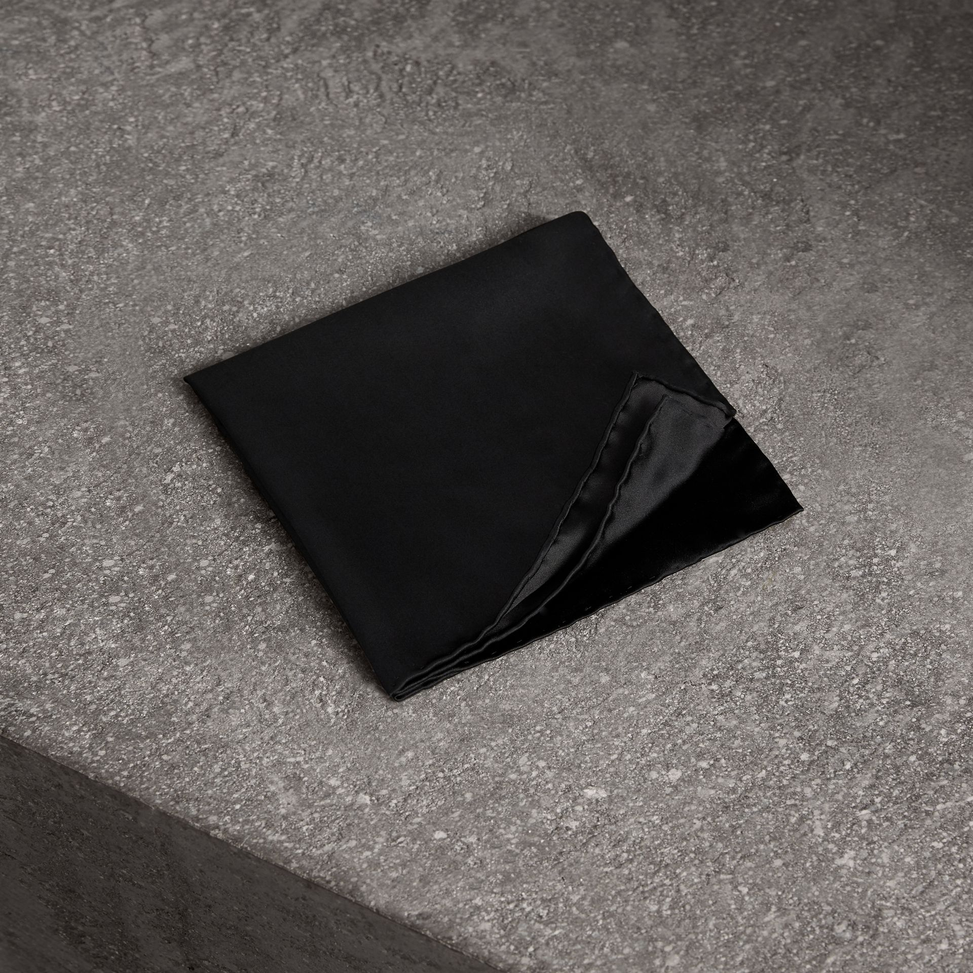 Silk Pocket Square in Black - Men | Burberry United Kingdom - gallery image 0