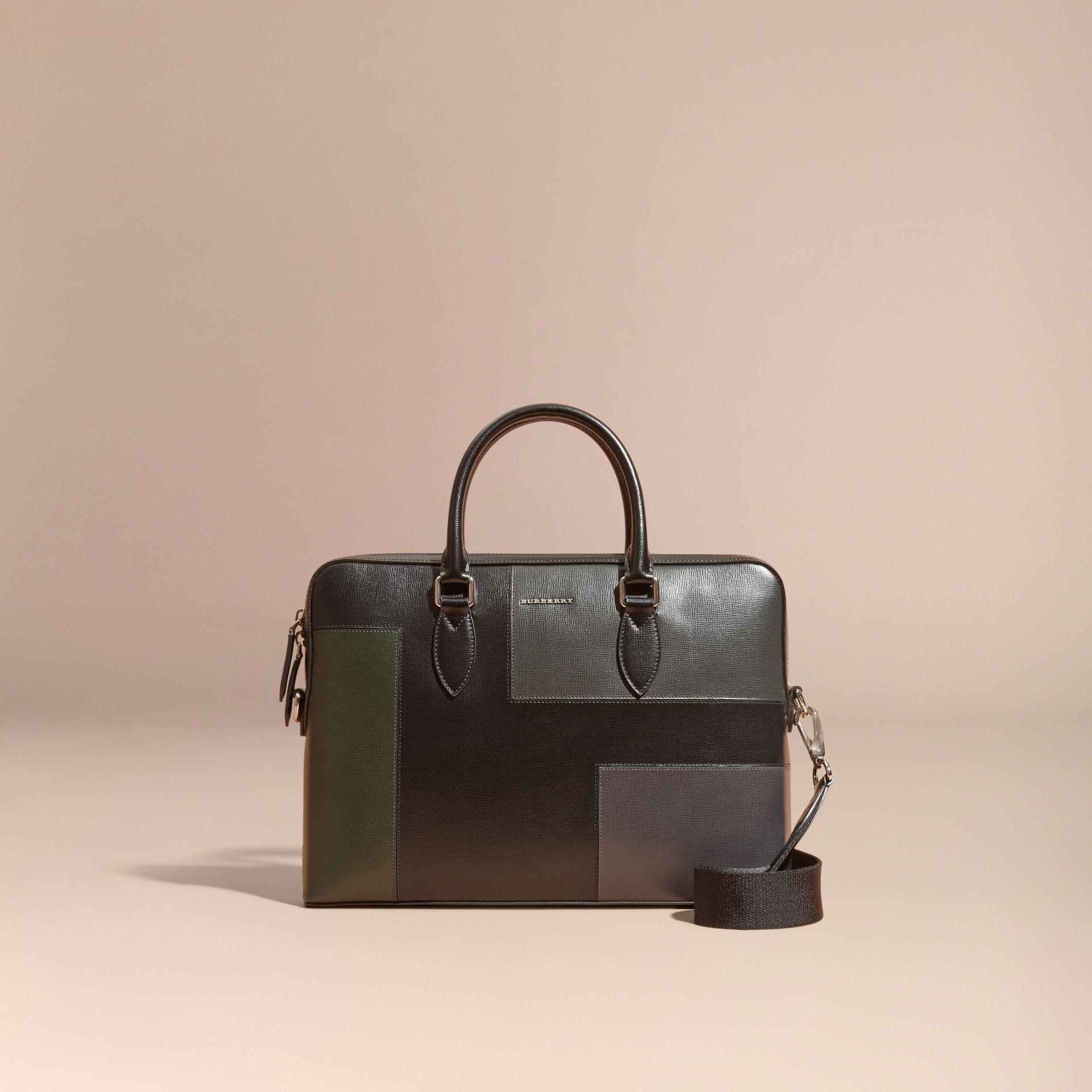 Black The Slim Barrow Bag in Patchwork London Leather Black - gallery image 9