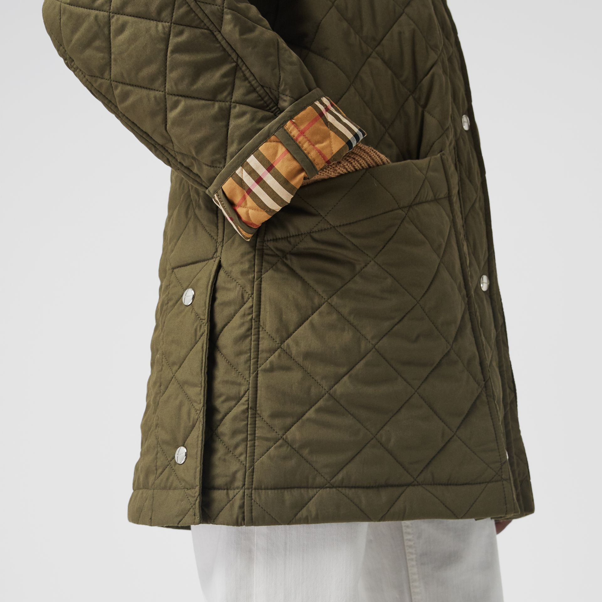 Lightweight Diamond Quilted Hooded Parka in Olive - Women | Burberry Singapore - gallery image 1