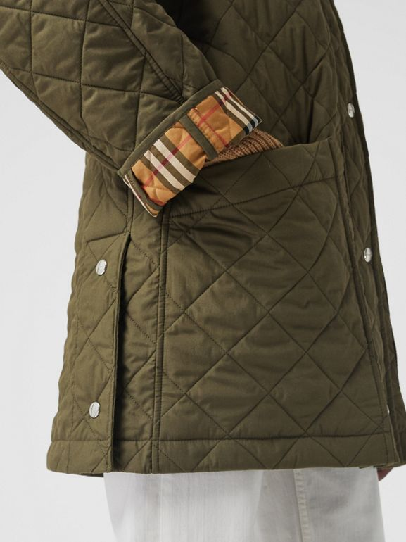 Lightweight Diamond Quilted Hooded Parka in Olive - Women | Burberry - cell image 1