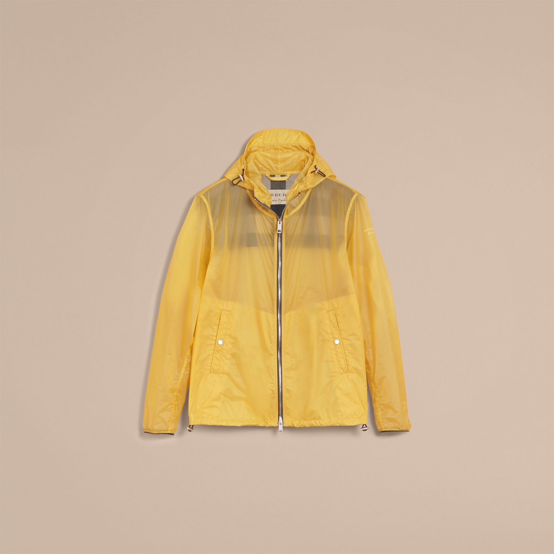 Hooded Super-lightweight Jacket in Pale Yellow - Men | Burberry Australia - gallery image 4