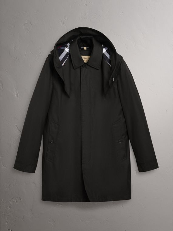 Detachable Hood Cotton Blend Car Coat with Warmer in Black - Men | Burberry - cell image 3
