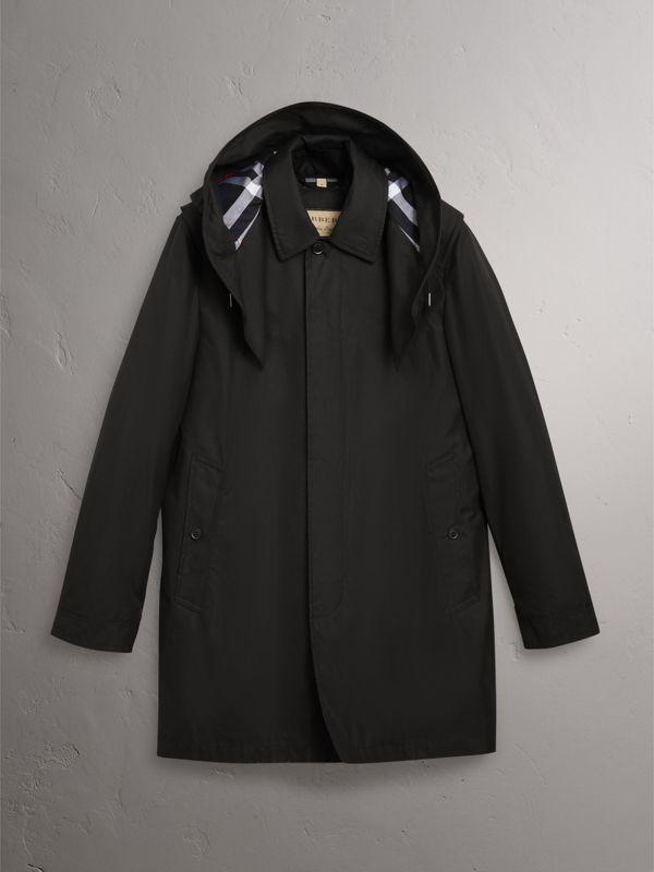 Detachable Hood Cotton Blend Car Coat with Warmer in Black - Men | Burberry United Kingdom - cell image 3