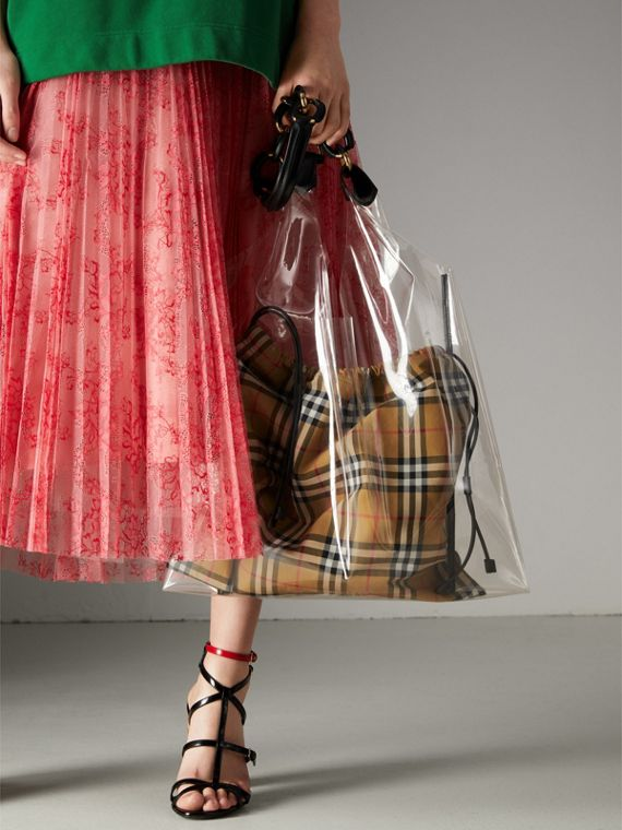 Medium Plastic Shopper with Vintage Check Pouch in Antique Yellow/black - Women | Burberry - cell image 3