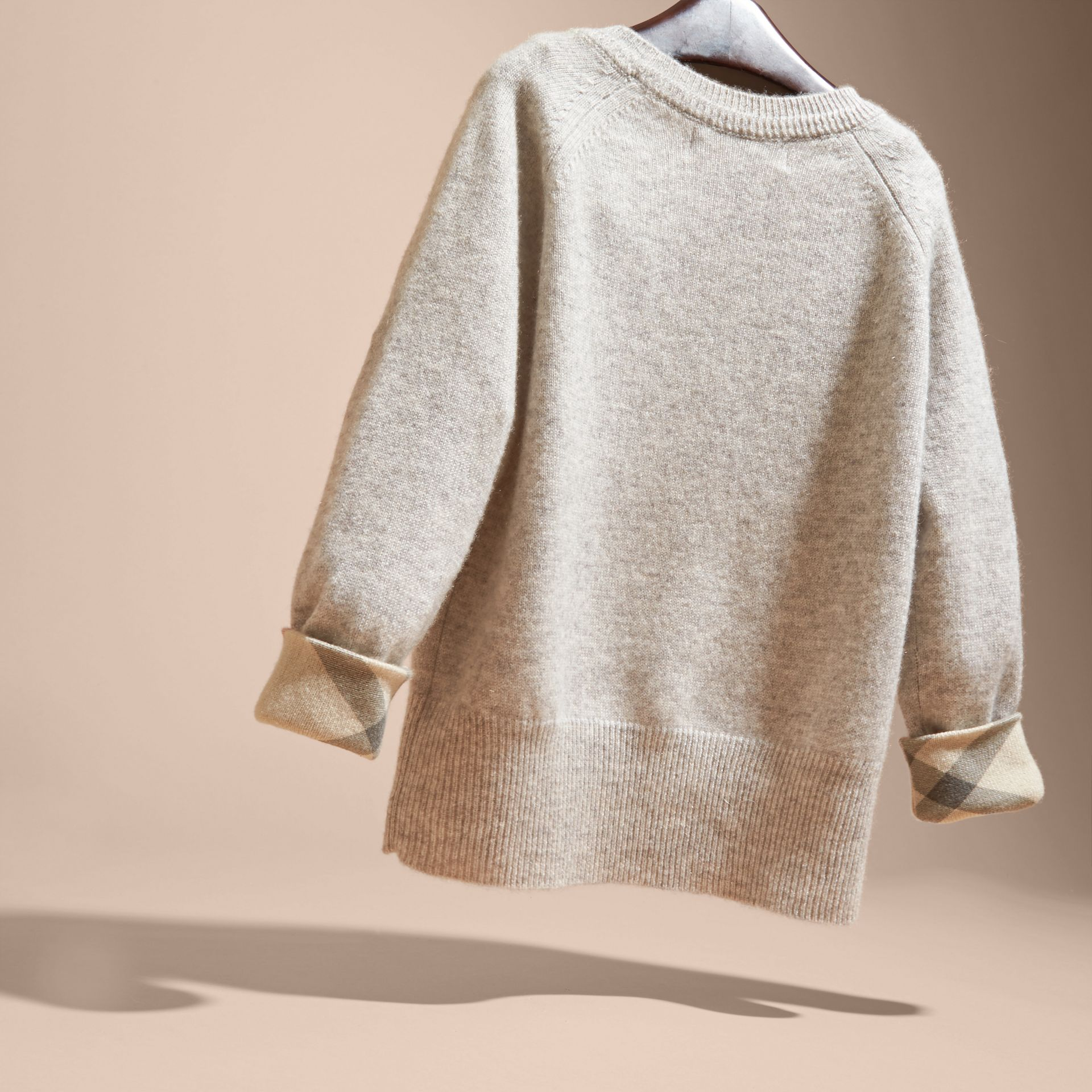 Check Detail Cashmere Sweater in Light Grey Melange - Girl | Burberry - gallery image 4