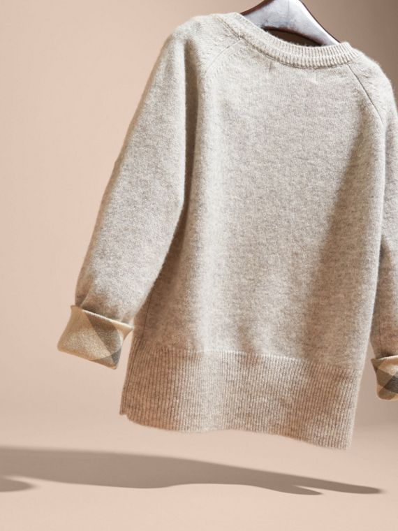 Check Cuff Cashmere Sweater in Light Grey Melange - cell image 3