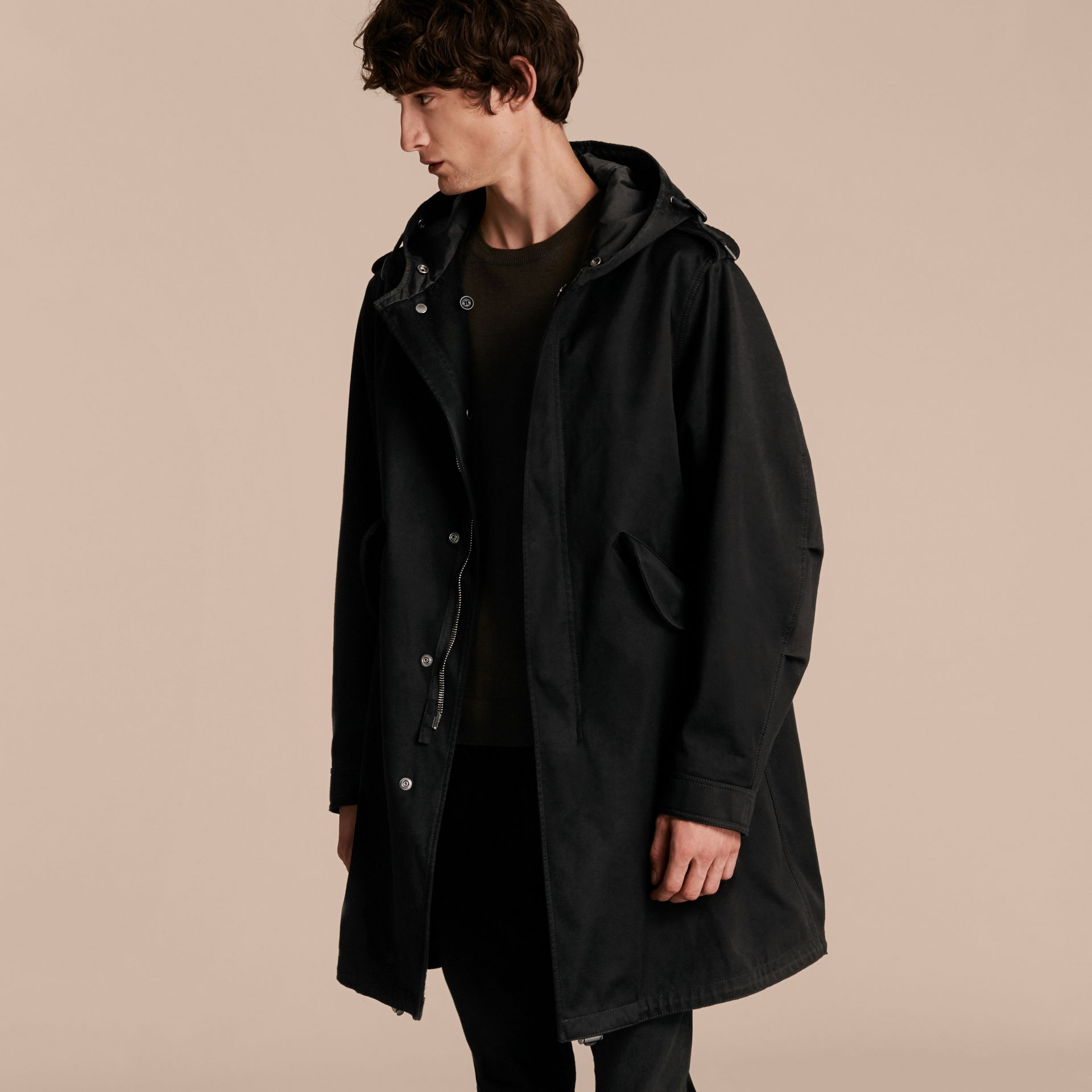 Black Cotton Sateen Parka with Fur Trim and Warmer - gallery image 7