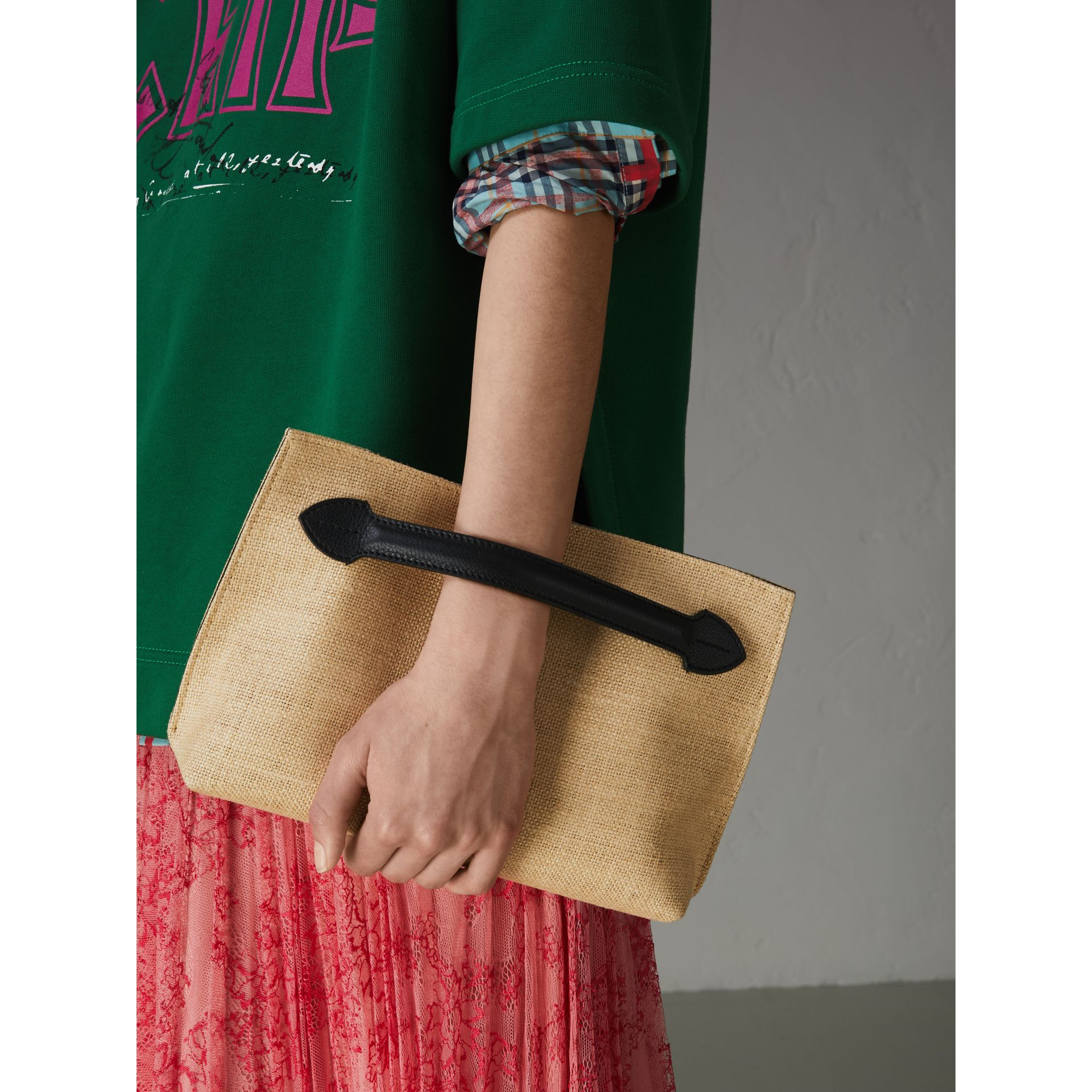 Logo Print Jute Wristlet Clutch in Black - Women | Burberry United States - gallery image 3
