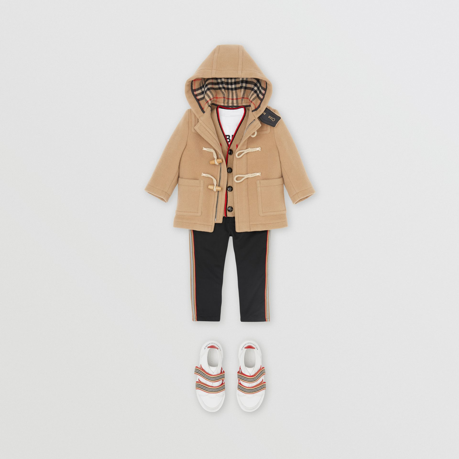 Boiled Wool Duffle Coat in Archive Beige - Children | Burberry - gallery image 3