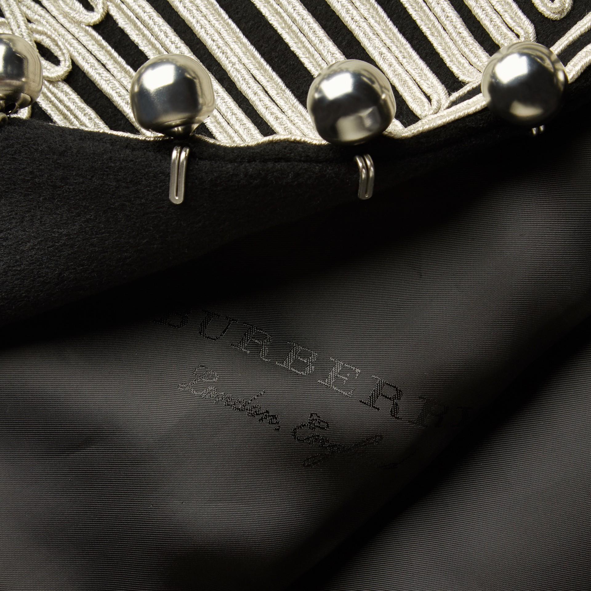 Black Braided Wool Military Coat - gallery image 2