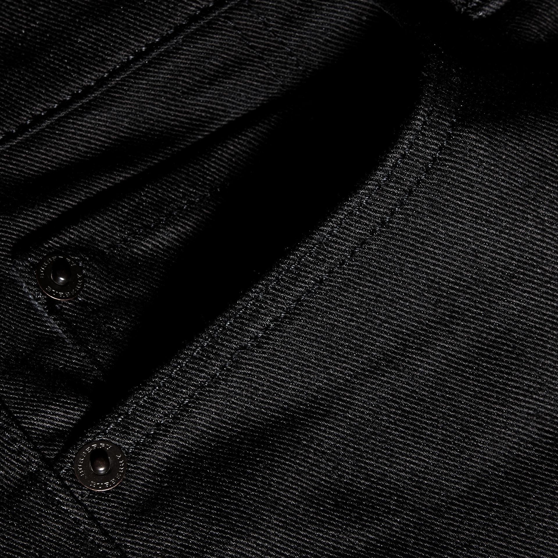 Black Straight Fit Unwashed Stretch Denim Jeans - gallery image 2
