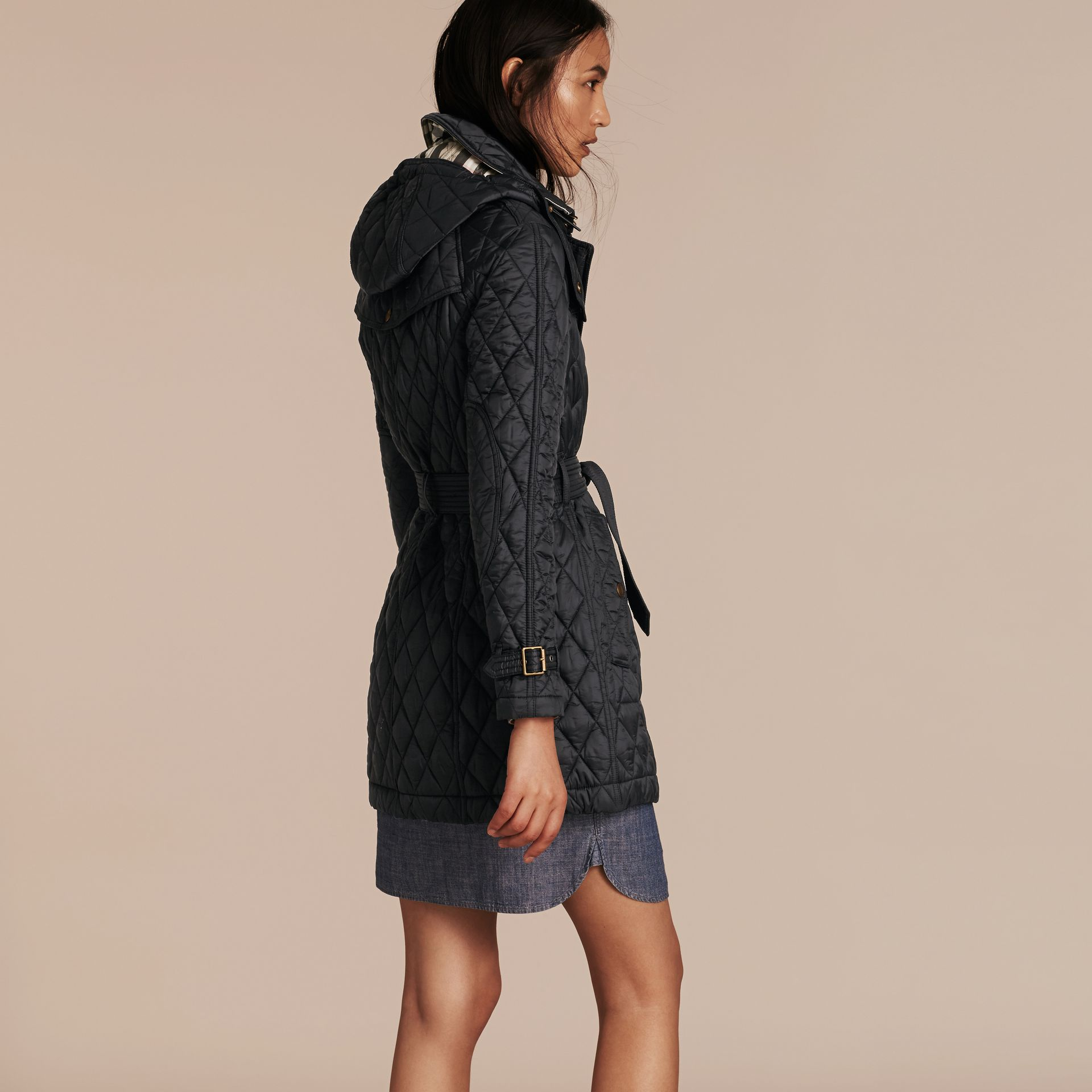 Diamond Quilted Coat Black - gallery image 3