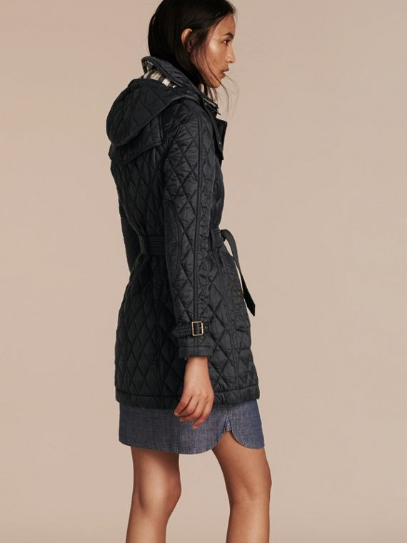 Diamond Quilted Coat Black - cell image 2
