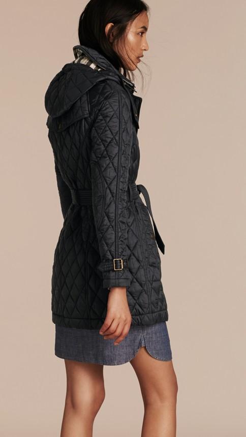 Black Diamond Quilted Coat Black - Image 3