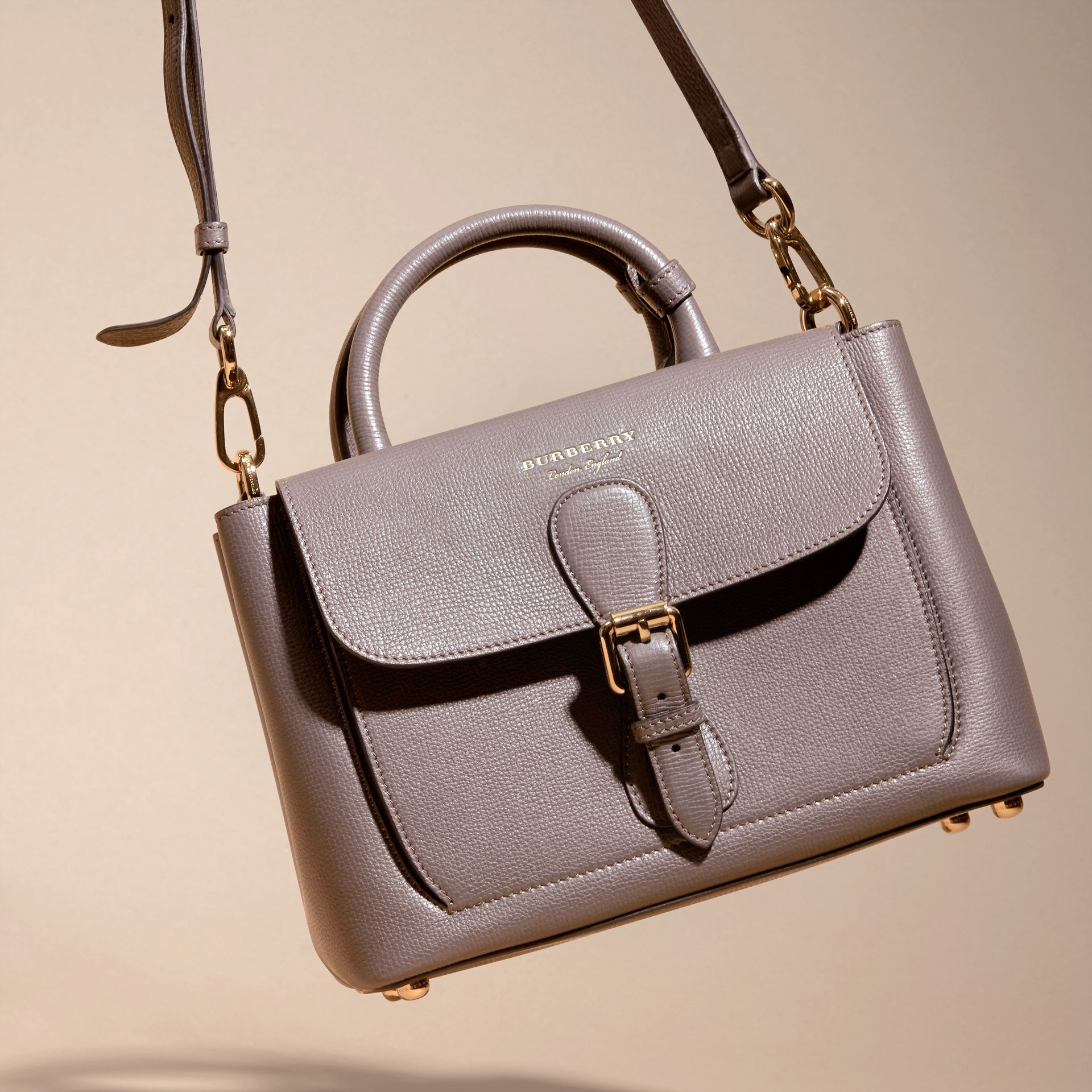 Sepia grey The Small Saddle Bag in Grainy Bonded Leather Sepia Grey - gallery image 7