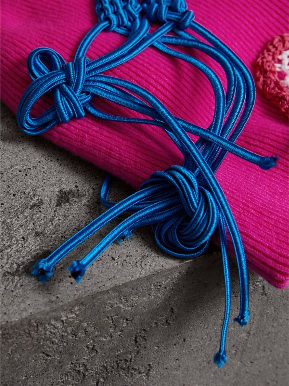 Floral Crochet Cashmere Blend Beanie in Fuchsia Pink | Burberry United Kingdom - cell image 1