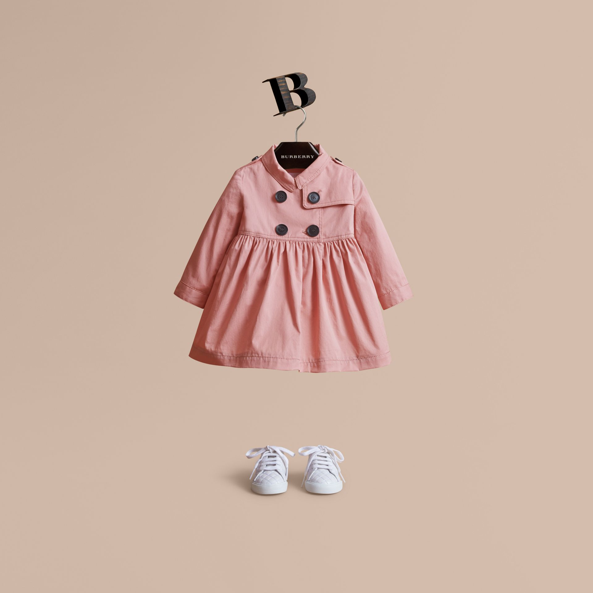 Stretch Cotton Trench Dress in Pale Rose | Burberry - gallery image 1