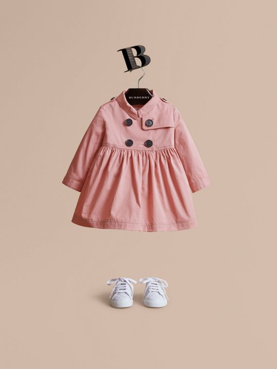 Stretch Cotton Trench Dress in Pale Rose