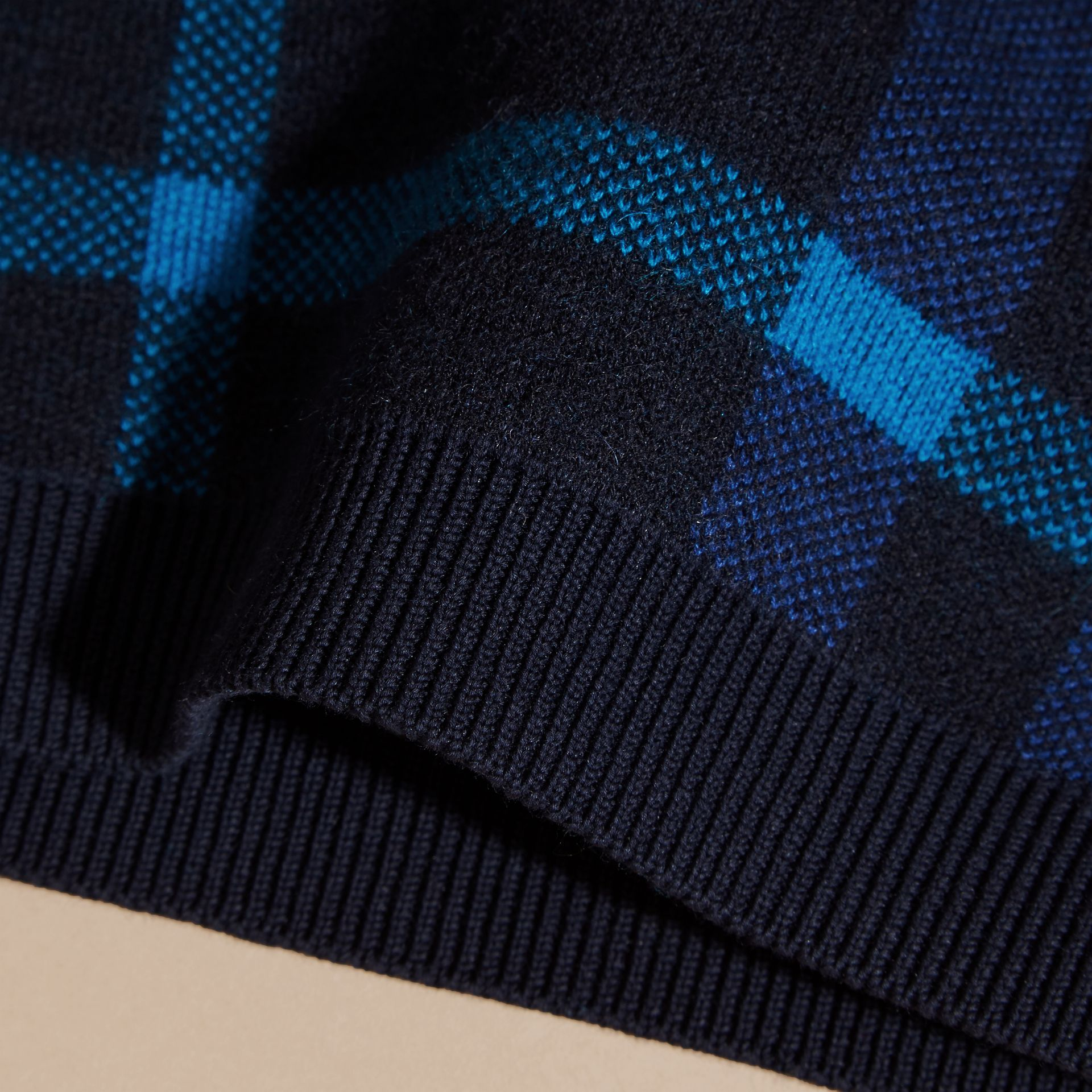 Navy Check Wool Cashmere Blend Sweater Navy - gallery image 2