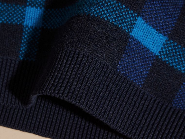 Check Wool Cashmere Blend Sweater in Navy - cell image 1