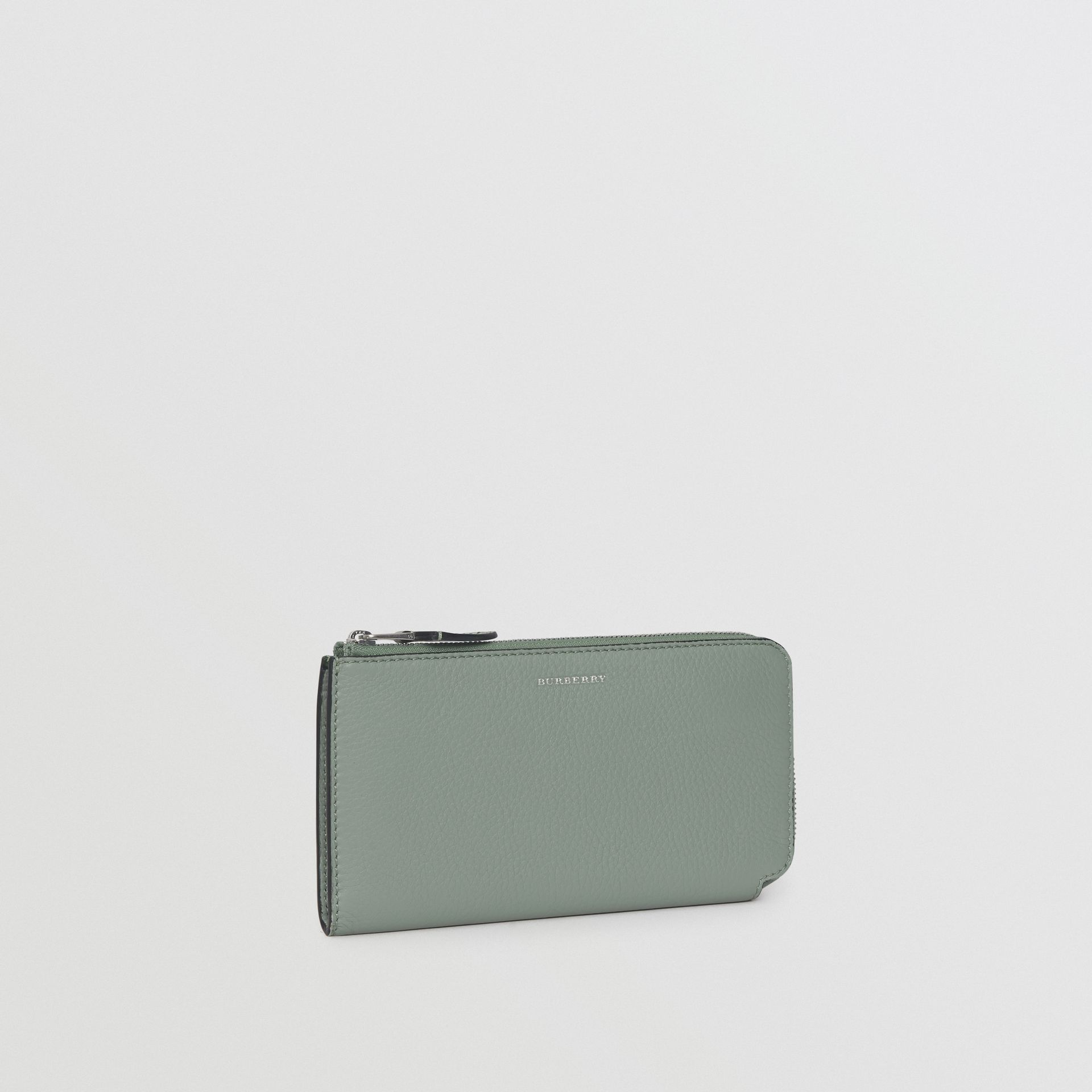 Two-tone Leather Ziparound Wallet and Coin Case in Grey Blue - Women | Burberry - gallery image 5