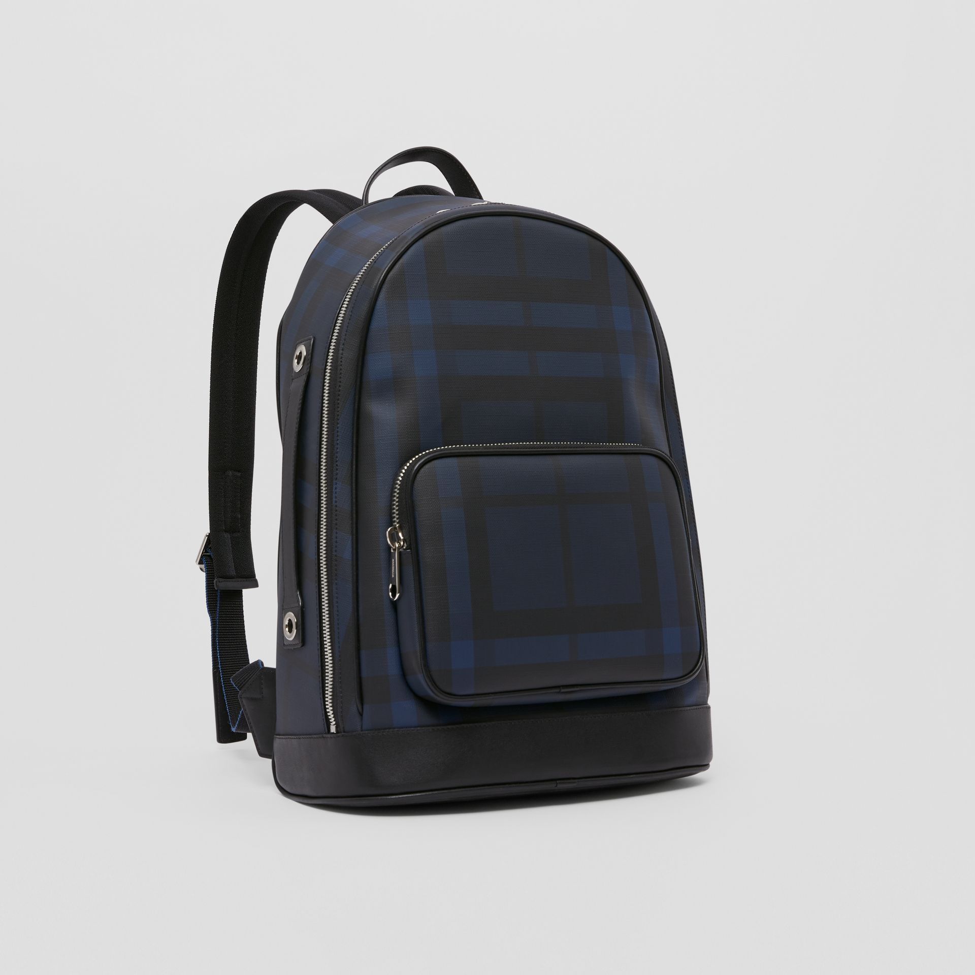 London Check and Leather Backpack in Navy | Burberry - gallery image 8