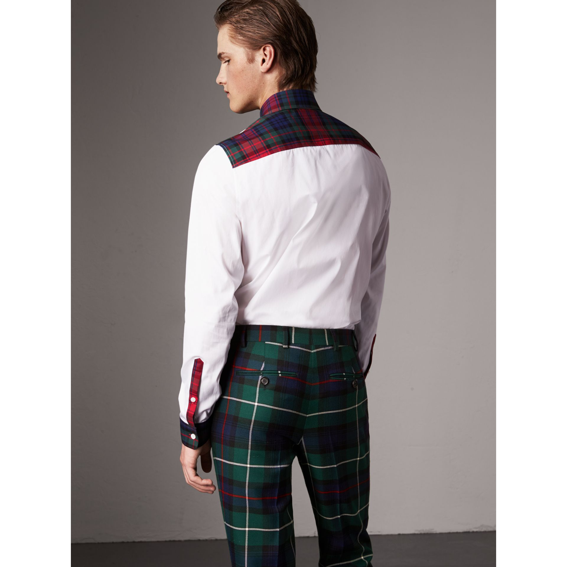 Tartan Cotton Gabardine Detail Cotton Poplin Shirt in White - Men | Burberry - gallery image 3