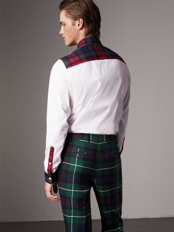 Tartan Cotton Gabardine Detail Cotton Poplin Shirt in White - Men | Burberry - cell image 2