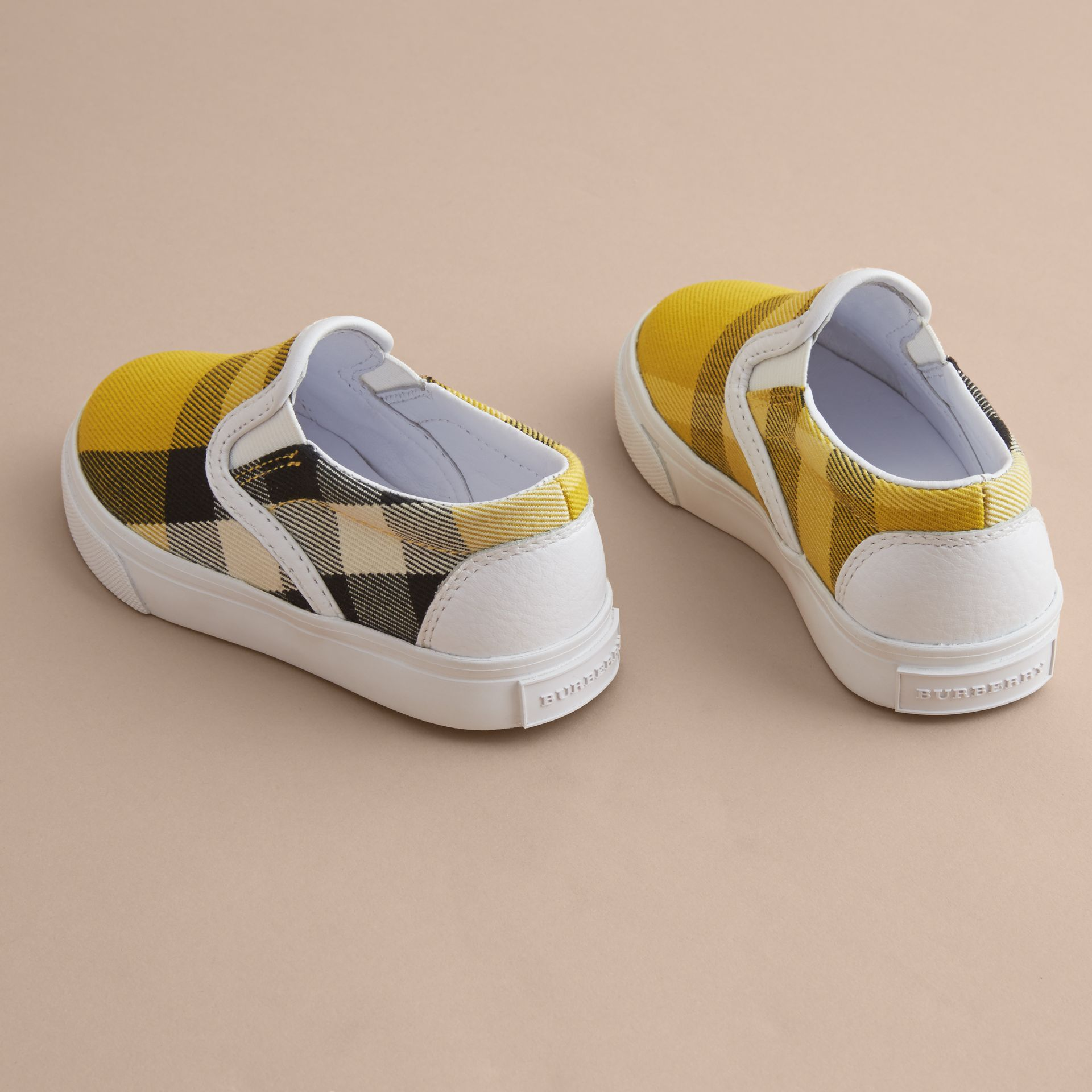 Tonal House Check and Leather Slip-on Trainers in Gorse Yellow - Children | Burberry - gallery image 4
